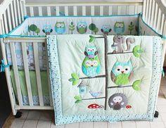 Baby Bedding Crib Cot Sets. 7 Piece Owl Theme