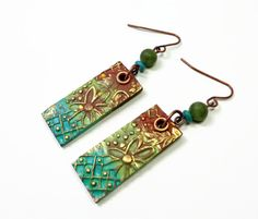 Distressed Copper Polymer Clay Earrings jewelry by BeadazzleMe, $14.00 Great Christmas Gifts!