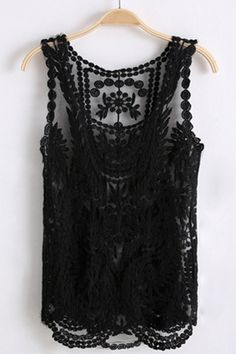 embroidered black tank.