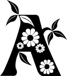 白黒の花のイラスト-花文字「A」・白黒