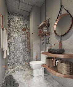 "45.5k Likes, 278 Comments - Interior Design & Decor (@homeadore) on Instagram: ""Industrial Retro Bathroom by Nas Studio """