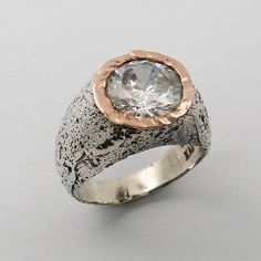 Silver & red gold round cz ring gsr7131. gift for her by MayaOr, $138.00