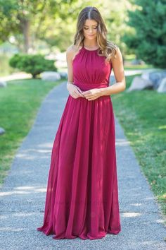 Long Burgundy Lace Detail Bridesmaid Dress for Country Wedding