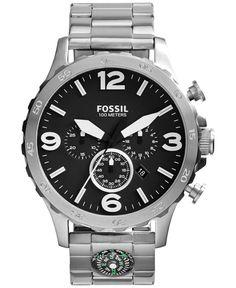 Fossil Men's Chronograph Nate Stainless Steel Bracelet Watch 50mm JR1490