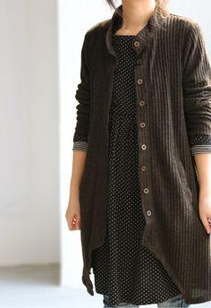 hem asymmetrical stand collar Thin Coat by MaLieb on Etsy, $68.00