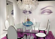 Lucite dinning table and chandelier
