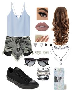 """""""Untitled #18"""" by bubblegumprincess831 on Polyvore featuring Boohoo, Converse, Ray-Ban, With Love From CA, Wet Seal, Domo Beads, Charlotte Russe, MANGO and Lime Crime"""