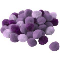 Pompons 15 mm dégradé violet x 45, Référence 00008582, Avec les pompons tout est permis! Avec vos enfants, créez des figurines originales avec des pompons auxquels s'associent du fil chenille, des plumes avec des yeux mobiles. Grâce à ce dégradé violet de pompons, vous disposez de couleurs subtiles pour vos créations.