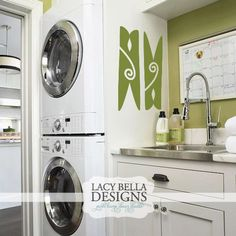Laundry rooms, usually the last place we decorate, yet one of the most used rooms in the house! These clothes pin embellishment wall decal stickers can be used as a single large decal, or multi-colored wall border can brighten up your space. Add this to an accent wall, with a colorful rug, and it will transform your Laundry Room!