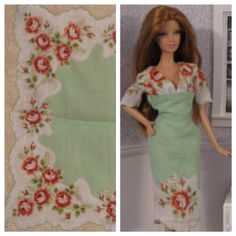 Ooak Barbie dress and the vintage hankie it was made from