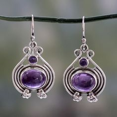 NOVICA Unique Amethyst, Pearl and Sterling Silver Earrings ($52) ❤ liked on Polyvore featuring jewelry, earrings, amethyst, dangle, round earrings, sterling silver jewelry, dangle pearl earrings, white pearl earrings and pearl jewelry