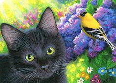 Black cat kitten goldfinch bird spring flowers garden original aceo painting art #Miniature