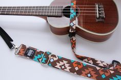Ukulele Strap, The HUG Strap, No need for Strap Buttons, Brown, Turquoise, and Orange Ikat by TheHUGStrap on Etsy