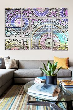Indian Wood Pattern 8 Panel Sectional Wall Art