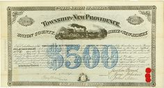 Township of New Providence - Passaic Valley and Peapack Rail Road Company New Providence, Union County, State of New Jersey, 9 April 1868, 7 % Bond for US-$ 500, #42, 23.5 x 43.2 cm, blue, black, folds (partially repaired with tape), some coupons remaining, large vignette with train. Only this bond is listed in Cox. Rarity from the collection of Tankred Menzel.