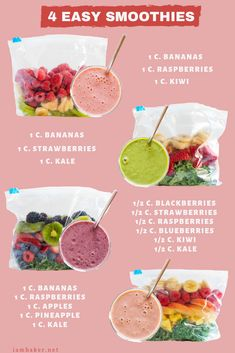 Make Ahead Smoothie Packs - My Favorite Frozen Fruit Smoothie Recipes - Super Simple and Insanely Good! - - Make Ahead Smoothie Packs - My Favorite Frozen Fruit Smoothie Recipes - Super Simple and Insanely Good! Frozen Fruit Smoothie, Fruit Smoothie Recipes, Smoothie Prep, Easy Healthy Smoothie Recipes, Nutribullet Recipes, Ingredients For Smoothies, Super Healthy Foods, Being Healthy, How To Eat Healthy