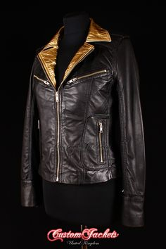 Ladies ESCAPE Black & Gold Real Lambskin Leather Jacket. Available in other custom colours of your choice.