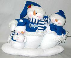 LA Dodgers MLB Table Top Snowman Family