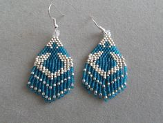 Turquoise Thunderbird Earrings in Delica by DsBeadedCrochetedEtc, $18.00 plus $3 shipping+