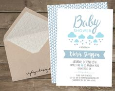 Baby Boy on the Way! | Rain Shower | Baby Shower Invite | Blue Clouds & Rain…