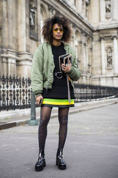 Toughen up your pair of shiny party tights with military-inspired pieces—a green bomber jacket, belted black dress, and hardware-heavy combat boots will do the trick. Winter Outfits For Work, Winter Outfits Women, Casual Winter Outfits, Winter Fashion Outfits, Fall Outfits, Paris Outfits, Dinner Outfits, Women's Fashion, Dressy Outfits