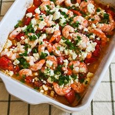 Kalyn's Kitchen®: Recipe for Easy Roasted Tomatoes and Shrimp with Feta, Oregano, and Fennel.