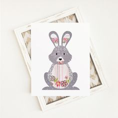 This adorable patchwork fabric Woodland Rabbit art print would be the perfect addition to your home, child's room, or nursery. Digital downloads are an easy and affordable way to decorate your little girl's room or nursery. You can also create T shirts, photo props, party decorations and much more with this design. This woodland forest animals art print would also make a great Baby Shower gift!