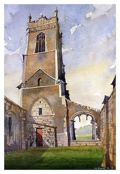 St. Andrews Walberswick, Suffolk by Iain Stewart Watercolor ~ 19.5 x 12