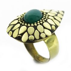 Jade Green Stone Gold Tone Metal Mosaic Adjustable Ring Indian Fashion Jewelry #Unbranded