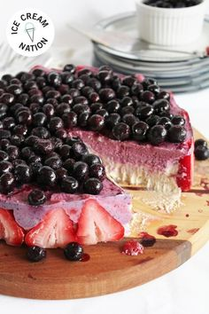Blueberry, Strawberry,  Banana Cake It's a berry smoothie in the form of a dairy-free ice cream cake from raw and vegan cookbook author Emily von Euw of This Rawesome Vegan Life.