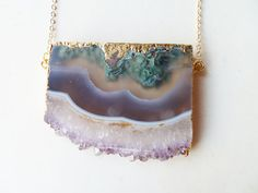 gold-dipped amethyst slice necklace - elegance au naturel