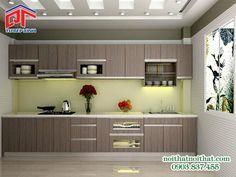 Mẫu tủ bếp chữ I thiết kế tiện nghi gọn gàng PTM87