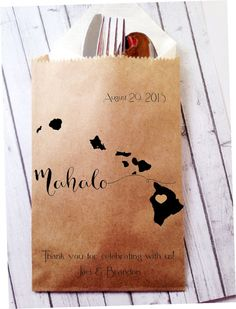 Hawaiian Mahalo Wedding Favor Bags Destination by DetailsonDemand