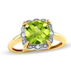 8.0mm Cushion-Cut Peridot and Diamond Accent Framed Ring in 10K Gold
