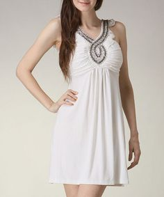 Sooooo cute!!  White Beaded Dress by Jazzy Martini on #zulily today!