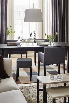 Create room at the table for added guests with an extendable table like the IKEA BJURSTA extendable table! It's quick and easy to change the size of the table to suit your different needs. With two extra leaves stored under the table top, you can extend the table to seat from four to eight people.