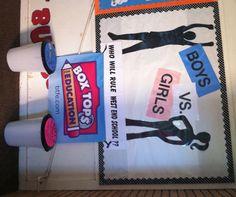 Boys vs. Girls Box Tops Contest Bulletin Board