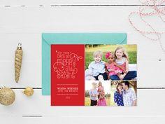Merry & Bright Modern Christmas Photo Card by MeganWrightDesignCo