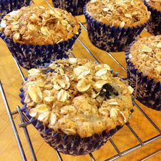Replacing the all-purpose flour with whole wheat flour gives these Lemon Blueberry Oatmeal muffins the extra protein and fiber you need to get through your day. Blueberry Oatmeal Muffins, Blue Berry Muffins, Oat Muffins, Breakfast Muffins, Dessert Recipes, Desserts, Breakfast Recipes, Muffin Recipes, Bread Recipes