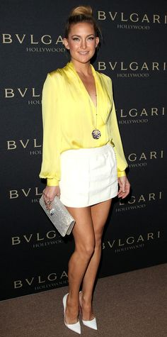 Trend Alert! Celebrities Wearing White Shoes: Kate Hudson looked ready for summer in a yellow and white Emilio Pucci outfit, Bulgari jewels, and mega-watt Christian Louboutin heels. #InStyle