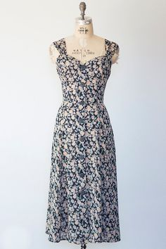 REBECCA dress Vintage 1990s black and floral grunge by GoldBanana