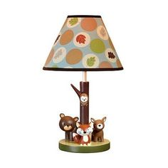 Features:  -Resin 2 dimensional lamp base.  -Matching fabric printed drum shade.  -UL listed and includes an energy saving light bulb.  -Surface clean only.  Fixture Finish: -Brown/White.  Fixture Mat