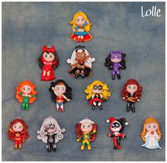 Deviantartist LolleBijoux has created these adorable keychain figurines for several comic book ladies, including a favorite (sometimes) heroine of mine from Marvel and a favorite villainess from DC. From top to bottom: Supergirl, Scarlet Witch, Storm, Catwoman, Poison Ivy, Wonder Woman, Ms. Marvel, Black Widow, Dark Phoenix, Black Cat, Rogue, Harley Quinn, and Emma Frost.