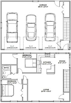40x28 3-Car Garage -- #40X28G10G -- 1,136 sq ft - Excellent Floor Plans