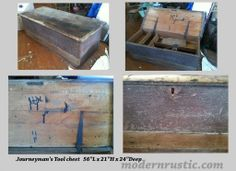 """Vintage handcrafted tool chest. 56""""L x 21""""H x 24""""Deep. Great for a bench/storage."""