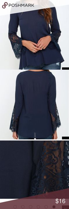 Lace Bell Sleeve Blouse Lightweight woven rayon constructs this billowy blouse, topped by a rounded neckline. Long sleeves have beautiful lace cuffs that splay out into Boho bell sleeves. In good Condition. Price firm. Lulu's Tops Blouses