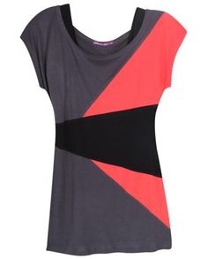color block top refashion idea - add contrasting color to midsection to lengthen shirt