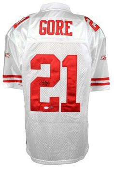 Frank Gore Autographed Jersey - Reebok - Witness - JSA Certified - Autographed NFL Jerseys by Sports Memorabilia. $229.99. Frank Gore Autographed Jersey - Reebok - JSA Witness. Compare Gore's numbers and you'll see why he's one of the best. Authenticity can be a problem in the sports memorabilia collecting industry, which is why we take pride in offering only 100% certified items. High quality signatures like this are rare, since Frank Gore doesn't do signings very often. Authent...