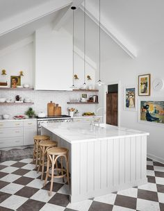 Amazing Large Kitchen Remodel Inspired by the South of France Large Kitchen Island, Kitchen Dining, Kitchen Decor, Dining Room, Kitchen Interior, Basement Kitchen, Decorating Kitchen, Kitchen Tile, Apartment Kitchen