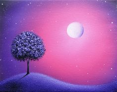 ORIGINAL Purple Tree Painting, Purple Oil Painting, Abstract Art on Canvas, Pink Starry Night Sky, Moon Dreamscape, Impasto Landscape, 8x10 by BingArt on Etsy